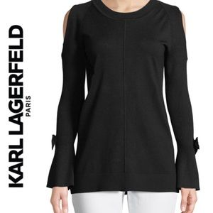Karl Lagerfeld Cold-Shoulder Bow Sweater